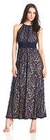 Maggy London Women's Pintuck Halter Maxi Dress