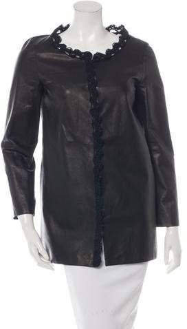 Chanel Crochet-Trimmed Leather Jacket