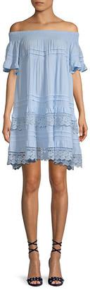 1st Sight Crochet Lace Off-The-Shoulder A-Line Dress