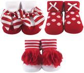 Hudson Baby Girls' Socks Red/White - Red & White Stripe Bow Three-Pair Socks Set - Infant