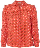 Petite Red Floral Ruffle Shirt