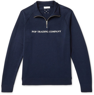Pop Trading Company Logo-Print Merino Wool-Blend Half-Zip Sweater