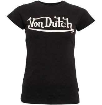 Von Dutch Womens Solar Crew T-Shirt Black/White