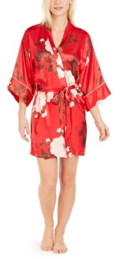 Linea Donatella Kara Floral-Print Satin Wrap Robe