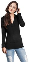 Victoria Beckham Woman's Jumper Sweater with ribbed V-neck,M,black