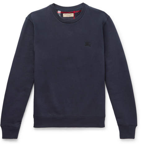 Burberry Fleece-back Cotton-blend Jersey Sweatshirt - Navy