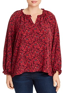Bobeau B Collection By Curvy B Collection by Curvy Regina Ruffled Floral-Print Top