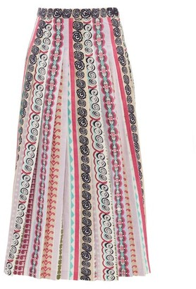 Le Sirenuse, Positano - Greta Girandola Graphic Print Pleated Cotton Skirt - Purple Print