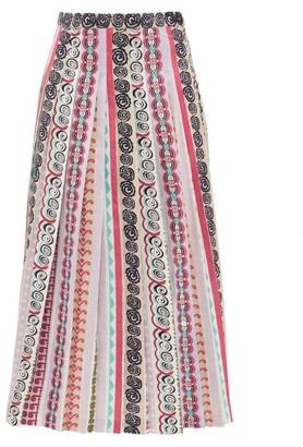 Le Sirenuse Le Sirenuse, Positano - Greta Girandola Graphic Print Pleated Cotton Skirt - Womens - Purple Print