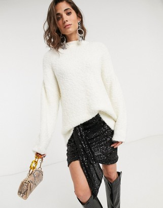 Topshop boucle jumper in ivory