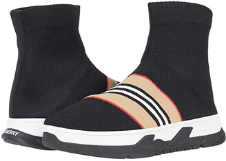 BURBERRY KIDS K1-Union Sock Stripe (Toddler/Little Kid) (Black) Kid's Shoes