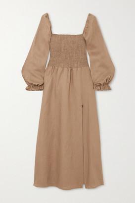 Reformation Net Sustain Gitane Smocked Linen Midi Dress - Dark green