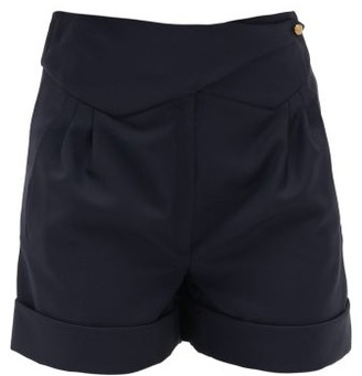 BLAZÉ MILANO Merit Wool-blend High-rise Shorts - Navy