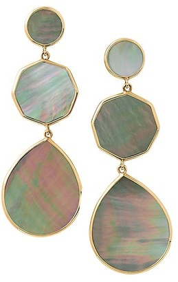 Ippolita Polished Rock Candy 18K Yellow Gold & Brown Shell Crazy 8's Post Earrings