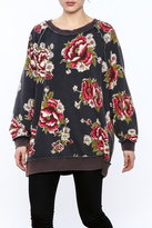 Free People Grey Floral Sweatshirt