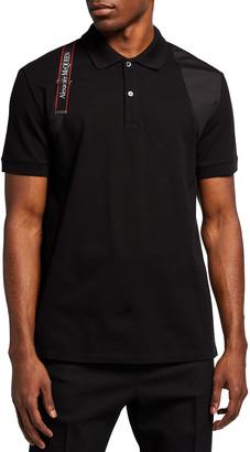 Alexander McQueen Men's Logo-Tape Harness Polo Shirt