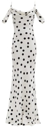 Rat & Boa - Antonia Polka-dot Off-the-shoulder Dress - White Black