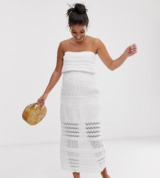 Asos DESIGN Maternity crochet bandeau maxi dress-White