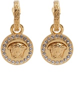 Versace Crystal-embellished Medusa drop earrings