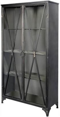 "Mercana Home Poppy II 73.8"" H Dark Brown Metal and Glass Door Display Cabinet - 38.3L x 17.3W x 73.8H"