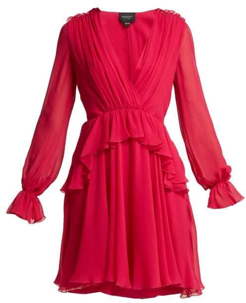 Giambattista Valli Ruffled Silk Chiffon Mini Dress - Womens - Fuchsia