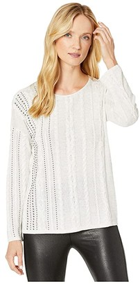 Nic+Zoe Cable Stud Top (Silver Mix) Women's Sweater