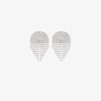 Alessandra Rich Silver Tone Half Circle Cascade Crystal Earrings
