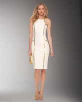 Leather-Piped Sheath Dress