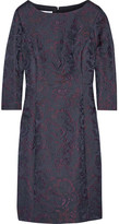 Oscar de la Renta Wool-blend Jacquard Dress - Navy