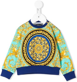 Versace Baroque Print Colour Block Sweater