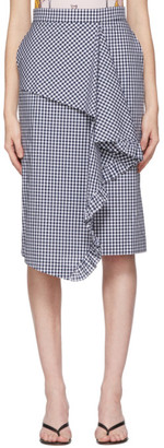 pushBUTTON Navy and White Gingham Frills Skirt