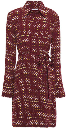 Equipment Chansette Belted Printed Crepe De Chine Mini Shirt Dress