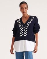 Veronica Beard Edwin Mixed-Media Sweater
