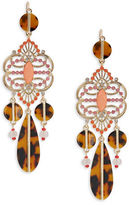RJ Graziano Crystal and Tortoiseshell-Style Drop Earrings
