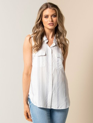 Forever New Nina Stripe Sleeveless Shirt - White/ Blue Stripe - 10