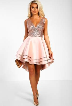 Pink Boutique Heart Broken Rose Gold Sequin Multi Layer Skater Dress