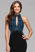 Faviana s7906 Long halter matte jersey dress with beading and cutouts