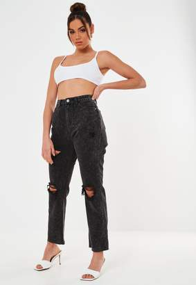Missguided Black Wrath Highwaisted Rip Straight Leg Jeans