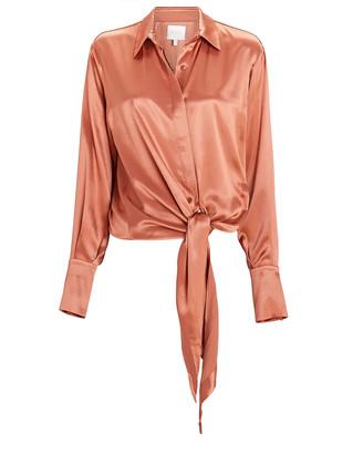 Galvan Lido Tie-Front Satin Shirt
