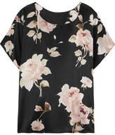 Rosamosario - La Donna Del Fioraio Floral-print Silk-satin Pajama Top - Black