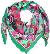 Emilio Pucci Emerald Green and Fuchsia Printed Silk Shawl