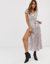 AllSaints alix freefall floral midi dress with split