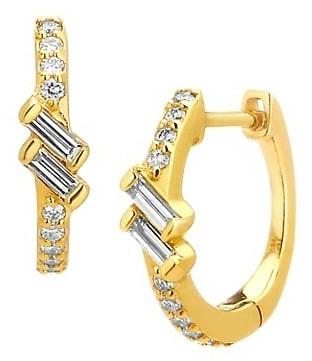 Celara 14K Gold & Diamond Huggie Earrings