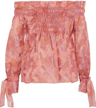 Rebecca Taylor Off-the-shoulder Fil Coupe Silk-blend Organza Blouse