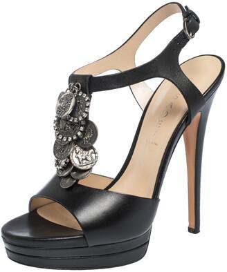 Casadei Black Leather Coins Embellished T Strap Platform Sandals Size 39