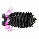 Stephanie Hair Brazilian Deep Wave Virgin Human Hair Brazilian Curly Virgin Hair Weave Unprocessed Natural Color Hair Extensions Deep Curly Weave 9A Grade (100+/-5g)/pc (20 22 24inch)