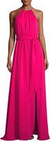 Halston Sleeveless Round-Neck Flowy Gown W/ Sash