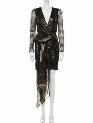 HANEY Polka Dot Print Mini Dress w/ Tags Gold