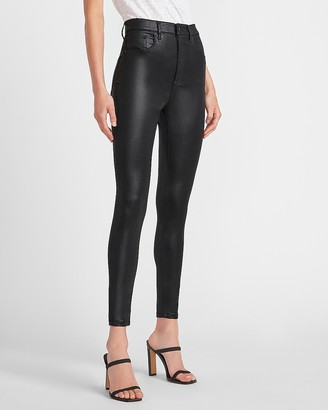 Express Super High Waisted Black Coated Skinny Jeans