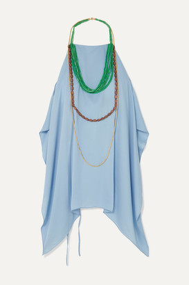 Jacquemus Haut Bijoux Backless Draped Embellished Crepe Halterneck Top - Sky blue